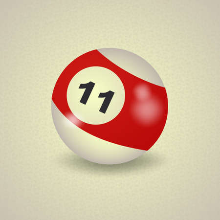 number 11: set of billiard balls, billiards, American ball number 11