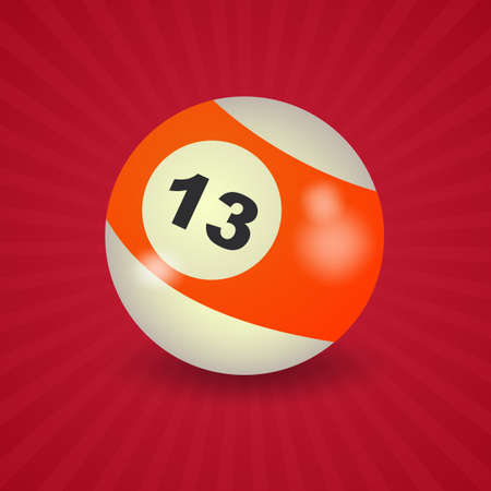 13: set of billiard balls, billiards, American ball number 13 Illustration