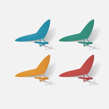 Paper clipped sticker: aircraft, glider. Isolated illustration icon Stock Photo