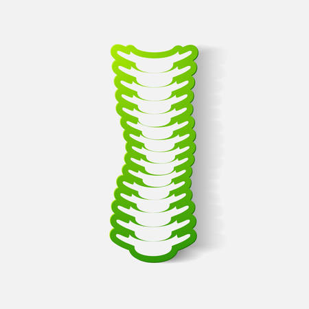 curvature: Paper clipped sticker: with the curvature of the spine to the right. Isolated illustration icon