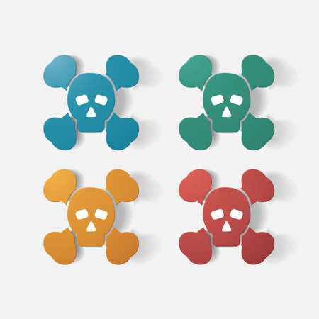 poison symbol: Paper clipped sticker: symbol poison skull and crossbones. Isolated illustration icon Illustration