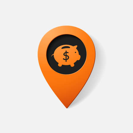 financial position: Realistic color pointer: moneybox. pig. Isolated illustration icon Illustration