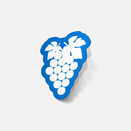 grapes in isolated: realistic paper sticker: grapes. Isolated illustration icon Illustration