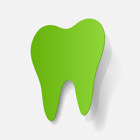 smiles teeth: realistic paper sticker: tooth. Isolated illustration icon