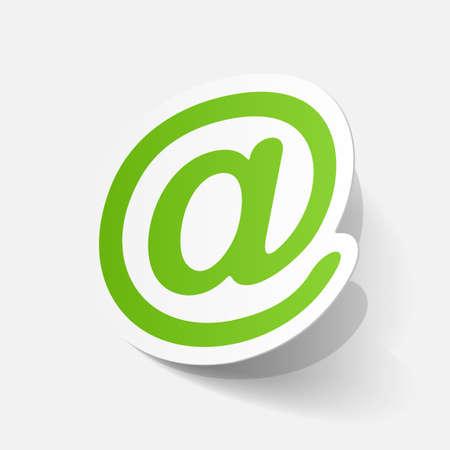 e mail: Realistic paper sticker: e mail sign. Isolated illustration icon