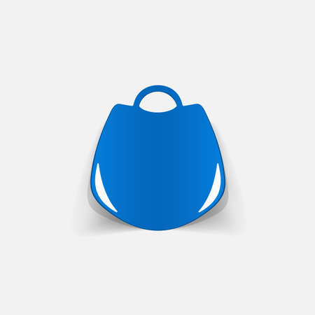 post teen: Realistic paper sticker: handbag. Isolated illustration icon