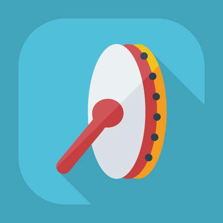 pandero: Dise�o moderno plana con iconos sombra pandereta Vectores