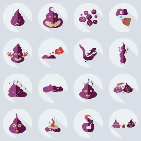 faeces: Flat concept, set modern design with shadow turd, faeces Illustration