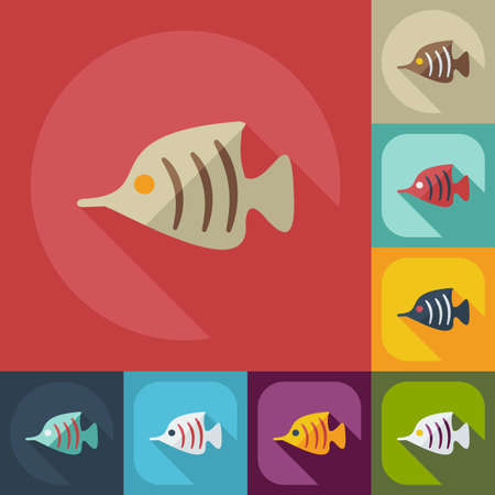 chain food: Flat modern design with shadow icons small fish Illustration
