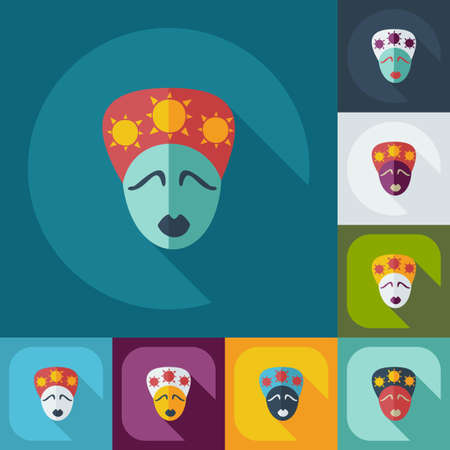 womankind: Flat modern design with shadow icons australian woman
