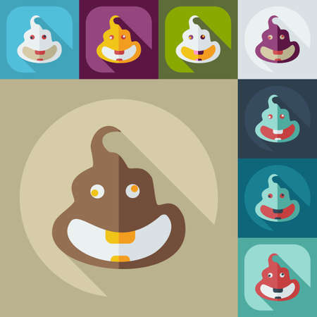 turd: Flat modern design with shadow icons turd, faeces