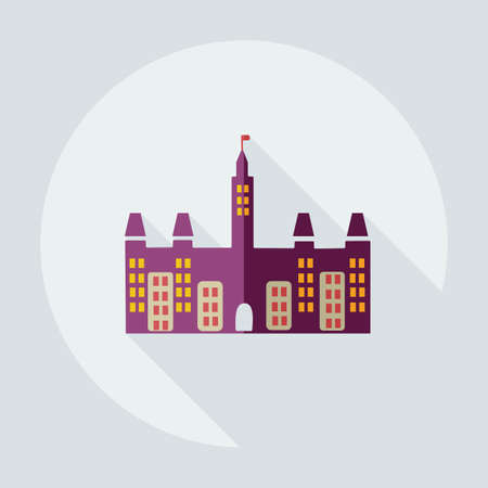 social history: Flat modern design with shadow icons castle Canada