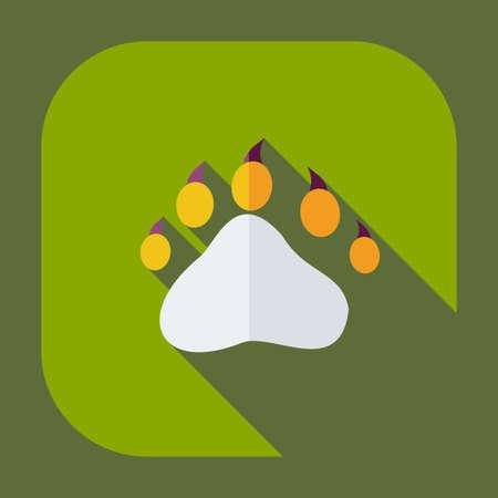 pawprint: Flat modern design with shadow icons bear trail Illustration