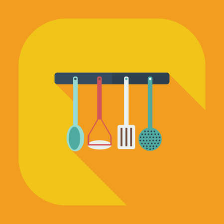 art design: Flat modern design with shadow icons kitchen items Illustration