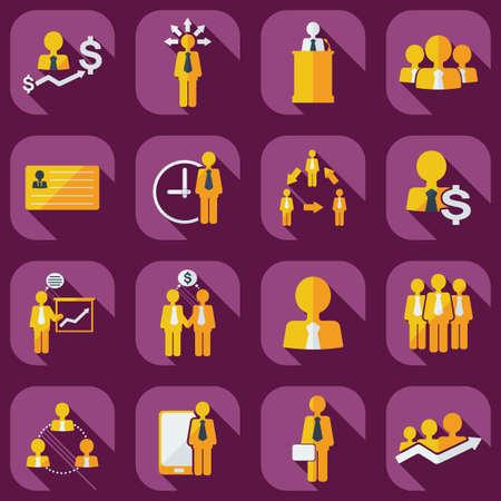 gestion empresarial: Dise�o moderno plana con el icono de negocios iconos de sombra