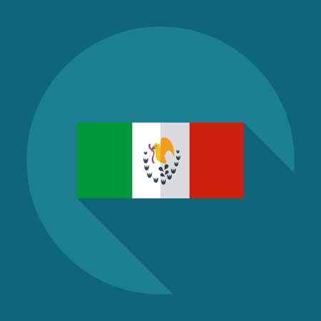 flag background: Flat modern design with shadow icons flag of Mexico Illustration
