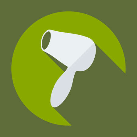 blow drying: Flat modern design with shadow icon hairdryer