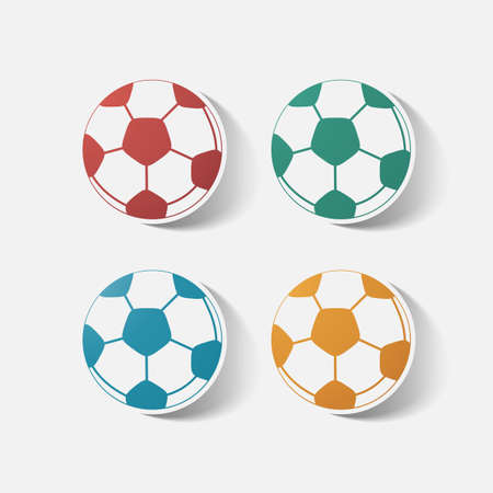 soccerball: Paper clipped sticker: soccer-ball. Isolated illustration icon