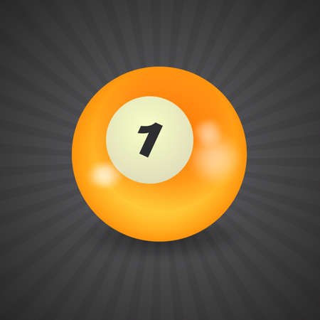 hole in one: set of billiard balls, billiards, American ball number 1 Illustration