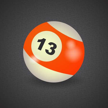 number 13: set of billiard balls, billiards, American ball number 13 Illustration