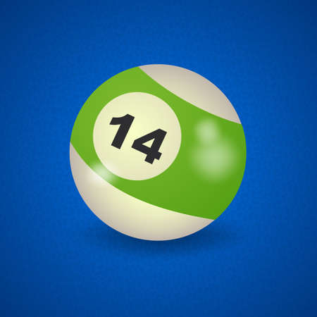 pocket billiards: set of billiard balls, billiards, American ball number 14