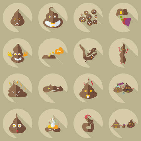 Flat concept, set modern design with shadow turd, faeces Illustration