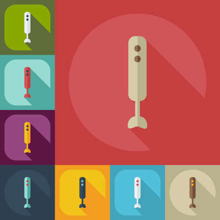 cocktail mixer: Flat modern design with shadow icons blender Illustration