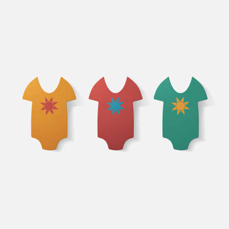 baby clothing: Paper clipped sticker: baby bodysuit. Isolated illustration icon