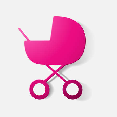buggy: Paper clipped sticker: buggy. Isolated illustration icon
