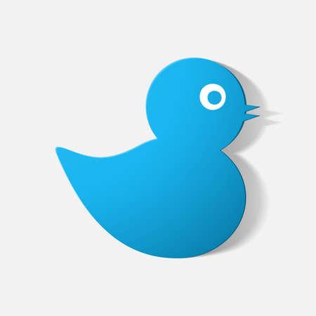 baby duck: Carta adesivo tagliato: anatroccolo. Illustrazione isolato icona