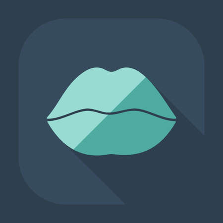 smooch: Flat modern design with shadow icon lips