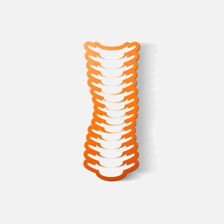 vertebra: Paper clipped sticker: with the curvature of the spine to the right. Isolated illustration icon