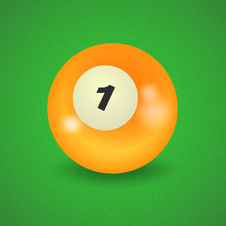 pocket billiards: set of billiard balls, billiards, American ball number 1 Illustration