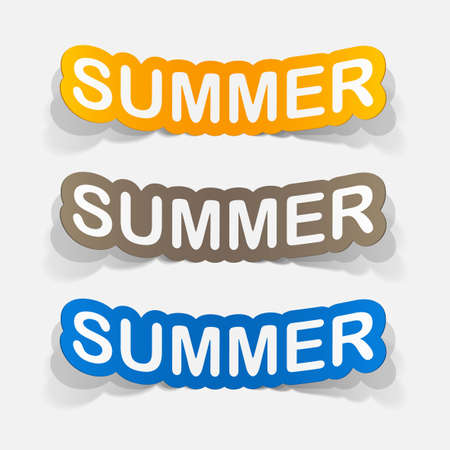 holiday icons: realistic paper sticker: summer. Isolated illustration icon