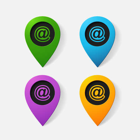 e  mail: Realistic color pointer: e mail sign. Isolated illustration icon Illustration