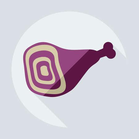 costillas de cerdo: Flat modern design with shadow icons meat