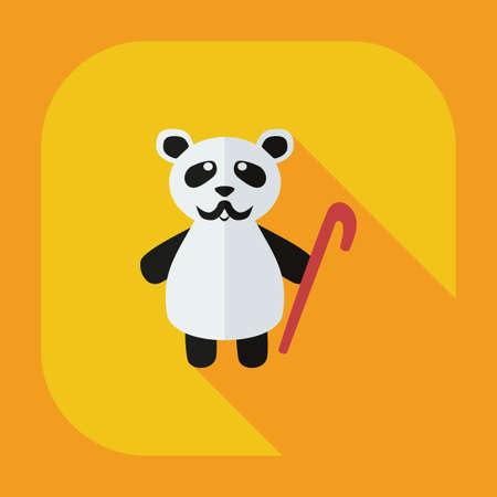 glum: Flat modern design with shadow icons panda old man