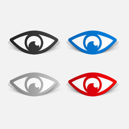 clipped: Paper clipped sticker: eye. Isolated illustration icon Illustration