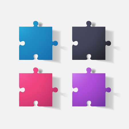 clipped: Paper clipped sticker: puzzle. Isolated illustration icon Illustration