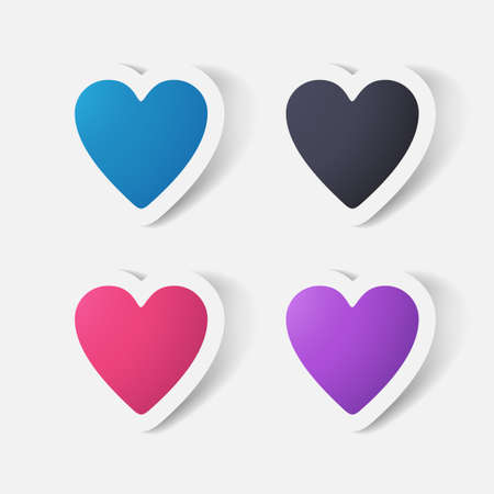 clipped: Paper clipped sticker: heart. Isolated illustration icon Illustration