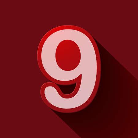 numero nueve: N�mero de iconos Volumen: nueve. Estilo moderno colorido.