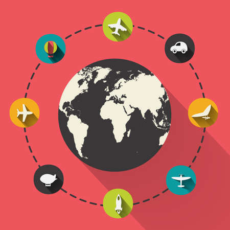 boeing: Paper clipped sticker: globe. transport Set. Isolated illustration icon