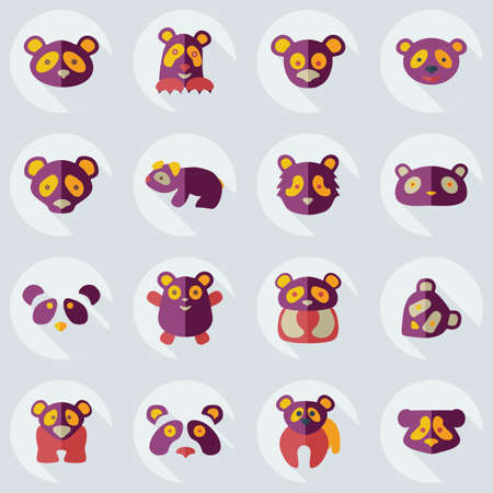 clumsy: Flat concept, set modern design with shadow pandas Illustration