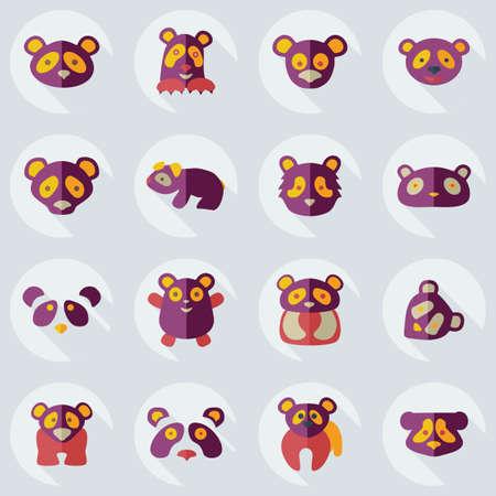 assemblage: Flat concept, set modern design with shadow pandas Illustration