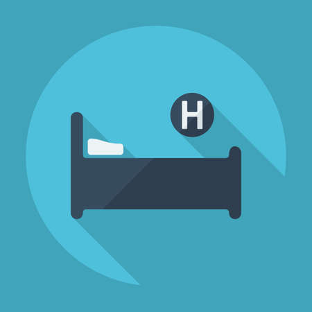 intensive care: Flat modern design with shadow hospital bed Illustration