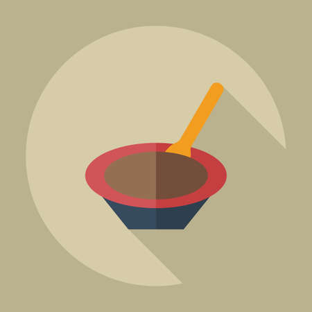 puree: Flat modern design with shadow icons baby porridge Illustration