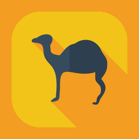dromedary: Flat concept, set modern design with shadow camel Illustration