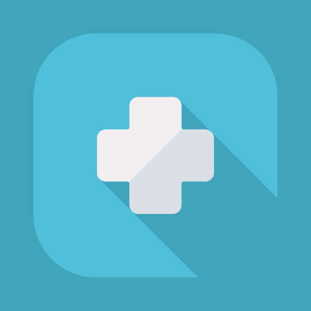 hospital icon: Flat modern design with shadow vector icons: medical cross