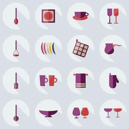 modern kitchen: Flat modern design with shadow icons kitchen