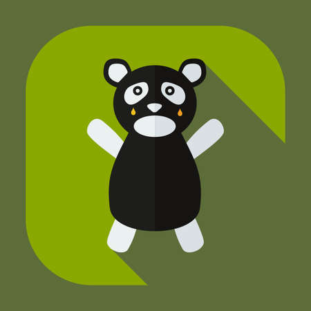 weeping: Flat modern design with shadow icons panda crying Illustration